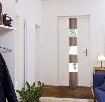 Portes d'entrée : Porte d'entrée avec carreaux vitrés et texture bois
