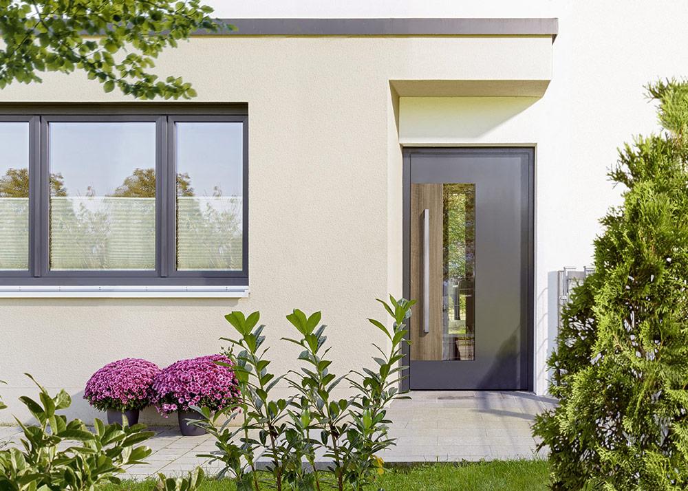 Portes d'entrée : Porte d'entrée vitrée et texture bois
