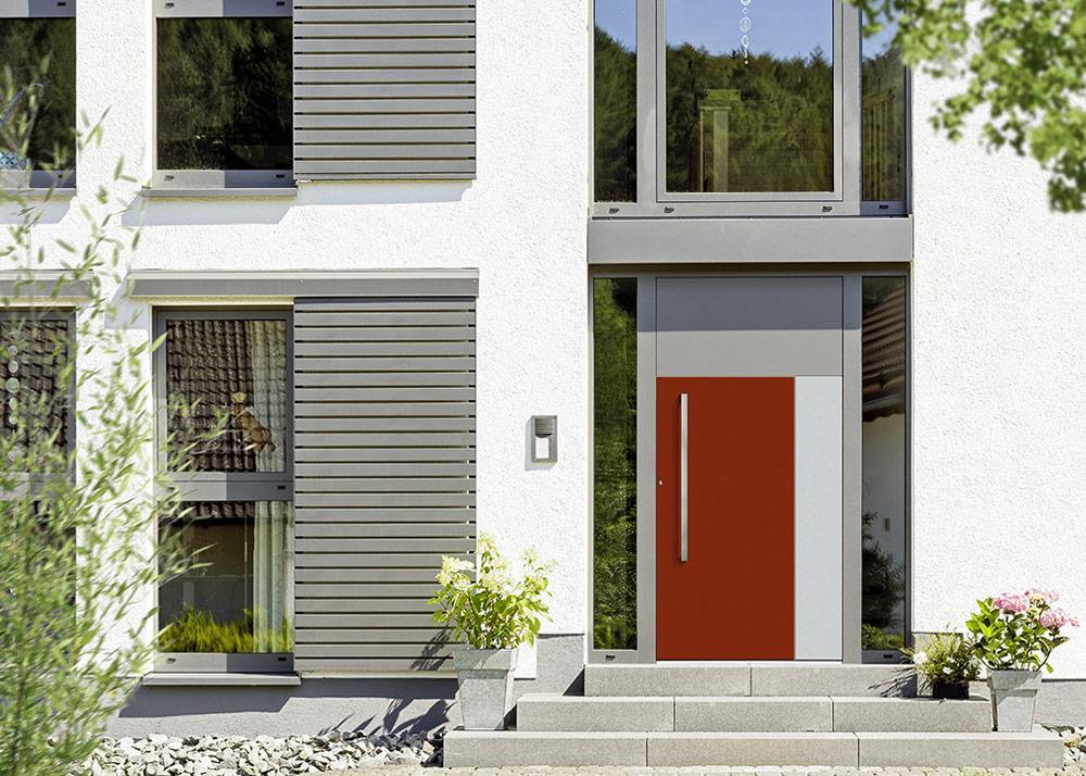 Portes d'entrée : Porte d'entrée avec deux parties vitrées latérales